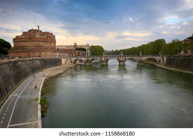 Rome, Italy, April 19, 2015. View of the Castle of Saint Angel and the Bridge
