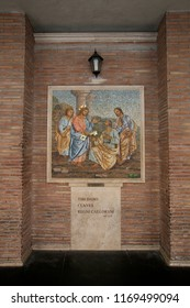 Rome, Italy, April 19, 2015. Mosaic on the wall of St. Peter's Cathedral in the Vatican