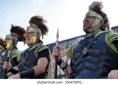ROME, ITALY - APRIL 19, 2015: Birth of Rome festival - Actors dressed as ancient Roman Praetorian soldiers attend a parade to commemorate the 2,768th anniversary of the founding of Rome.