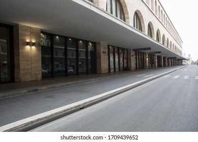 ROME, ITALY - APRIL 19, 2020: Deserted Termini Station in central Rome on April 19, 2020 during the lockdown aimed at curbing the spread of the COVID-19 infection.