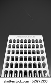 ROME, ITALY - APRIL 2 2011: Black and white version of Square Colosseum, site in the EUR district.