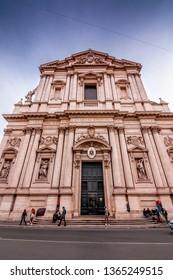 Rome, Italy - April 2, 2019: Exterior view of Chiesa Sant'Andrea della Valle in Rome, Italian capital.