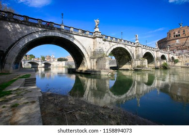 Rome, Italy, April 20, 2015. View of the Bridge and the Castle of Saint Angel