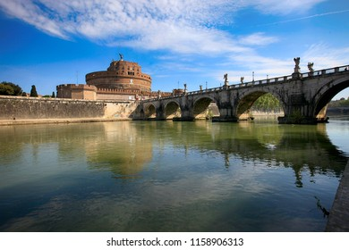 Rome, Italy, April 20, 2015. Beautiful view of the bridge over the Tiber River and the Castle of Saint Angela
