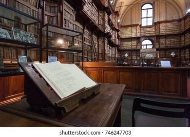 ROME, ITALY - APRIL 2015: An open book inside Biblioteca Angelica in Rome, Italy.