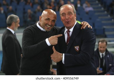 ROME, ITALY - APRIL 2016 :  Luciano Spalletti and Ventura before  fotball match  serie A  League 2015/2016 between A.s. Roma  vs Torino  at the Olimpic Stadium  on April 20, 2016 in Rome.