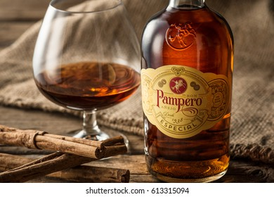 ROME, ITALY - APRIL, 2016:Industrias Pampero, C.A. is a Venezuelan rum distiller, and a subsidiary of Diageo.It was founded in 1938 and produces a range of rums, including an aged rum Pampero Especial