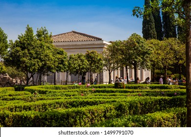ROME, ITALY - APRIL, 2018: Tourists visiting the Renaissance Farnese Aviaries and Gardens at the Palatine Hill in Rome