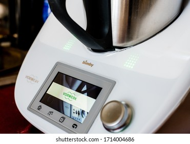 Rome, Italy, april 2020. Thermomix Vorewerk digital automatic food processor machine close up brand name and logo