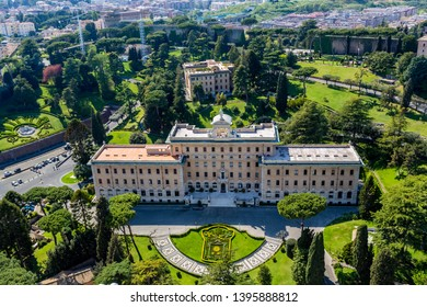 ROME, ITALY - APRIL 21, 2015: Aerial front view of government building with surrounding green garden in the Vatican Rome Italy April 21, 2015.