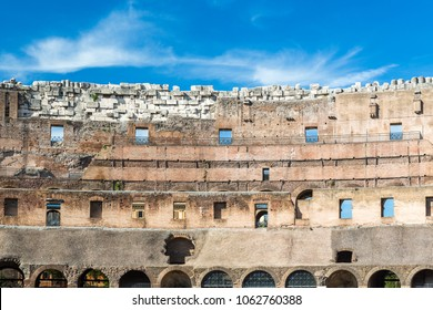 ROME, ITALY - APRIL 22, 2015:  Front view of ancient wall seen from inside of the Colosseum in Rome April 22, 2015.