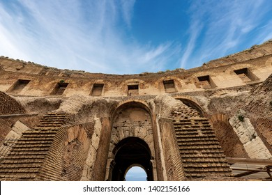ROME, ITALY - APRIL 22, 2019: Colosseo of Rome, close-up, Amphitheatrum Flavium 72 a.D. Ancient Coliseum or Colosseum. UNESCO world heritage site. Latium, Italy, Europe