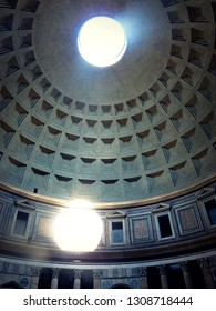 ROME, ITALY- APRIL 23 2015- Coffered ceiling of the Pantheon in Rome.