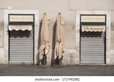 ROME, ITALY - APRIL 23, 2020:  Closed Restaurant in central Rome on April 23, 2020 during the lockdown aimed at curbing the spread of the COVID-19 infection.