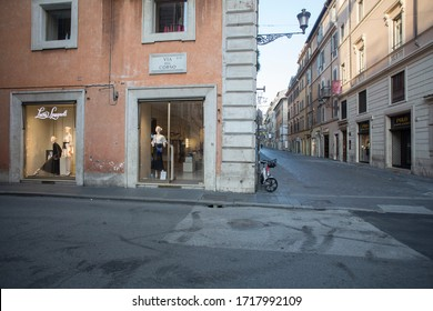ROME, ITALY - APRIL 23, 2020:  Closed stores in central Rome on April 23, 2020 during the lockdown aimed at curbing the spread of the COVID-19 infection.