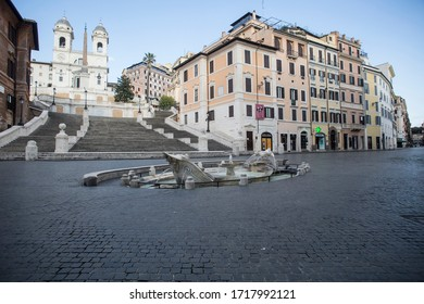 ROME, ITALY - APRIL 23, 2020:  Deserted Piazza di Spagna in central Rome on April 23, 2020 during the lockdown aimed at curbing the spread of the COVID-19 infection.