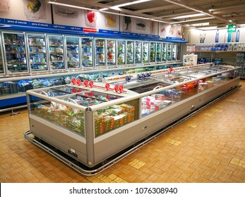 "ROME, ITALY. April 24, 2018: Frozen department, refrigerators and products in a ""Panorama"" shopping center in the historic center of Rome in Italy."