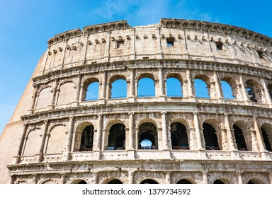 ROME, Italy- April 24, 2019: Great Roman Colosseum (Coliseum, Colosseo) also known as the Flavian Amphitheatre. Famous world landmark.