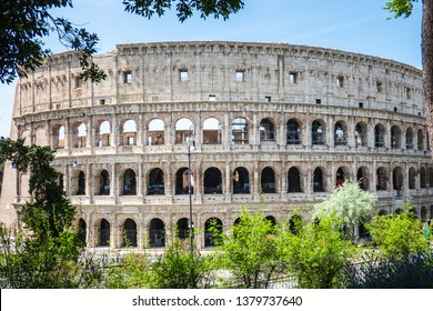ROME, Italy- April 24, 2019: Great Roman Colosseum (Coliseum, Colosseo) also known as the Flavian Amphitheatre. Famous world landmark. Scenic urban landscape