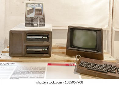 ROME, ITALY - APRIL 27, 2019: Eco1 computer produced by VDS in 1982 in Tuscany, a region rich at the time of companies that made machines based on Z80 processor and CP/M operating system.