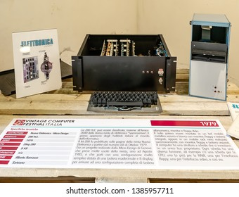 ROME, ITALY - APRIL 27, 2019: Computer model Z80 N.E., built by Nuova Elettronica in  1979, the first approach of Italian hobbyists in the IT world. Exposed at the Vintage Computer Festival Italy.
