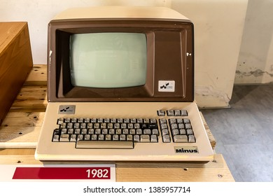 ROME, ITALY - APRIL 27, 2019: Minus computer produced by Kyber Calcolatori Pistoia in 1982, an economical computer with a single card. Exposed at the Vintage Computer Festival Italy.