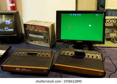 ROME, ITALY - APRIL 27, 2019: Pong, a table tennis–themed arcade video game, featuring simple two-dimensional graphics, manufactured by Atari and originally released in 1972.
