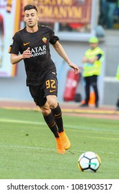 ROME, ITALY - APRIL 28,2018: Stephan El Shaarawi during football match serie A League 2017/2018 between AS Roma vs Chievo Verona at the Olimpic Stadium in Rome.