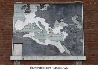 Rome, Italy - April 3, 2010: Map of the roman empire in Rome, Italy