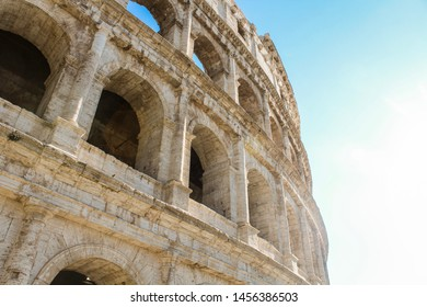 Rome, Italy- April 30, 2017: Rome Colloseum Architecture in Rome Italy City Center, Rome Ethernal City Architectural Details.