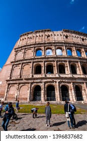 Rome, Italy - April 5, 2019: Exterior view of the ancient Roman Colloseum or Flavian Amphitheather in Rome, Italy.