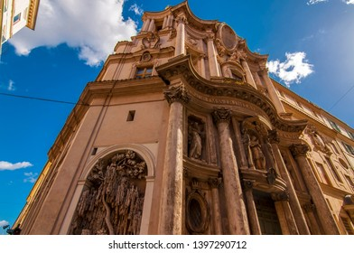 Rome, Italy - April 5, 2019: Cityscape and generic architecture from Rome. Via delle Quattro Fontane or Four Fountains with 4 Late Renaissance fountains.