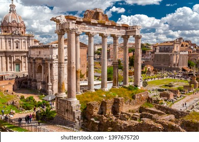 Rome, Italy - April 5, 2019: The historical open-air museum Roman Forum, view from Capitolium Hill in Rome, Italy.