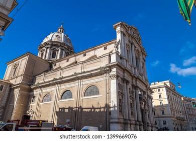 Rome, Italy - April 5, 2019: Exterior view of Chiesa Sant'Andrea della Valle in Rome, Italian capital.