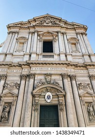 ROME, ITALY - APRIL 5, 2019: Exterior facade of Chiesa Sant'Andrea della Valle in Rome, Italy.