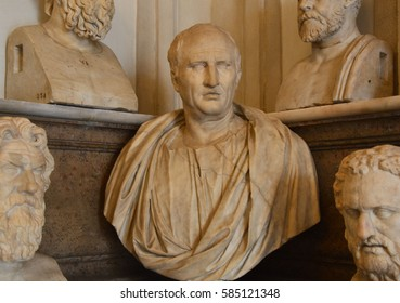 ROME, ITALY - APRIL 6, 2016: In the middle a first century AD bust of Cicero in the Capitoline Museums, Rome, Italy