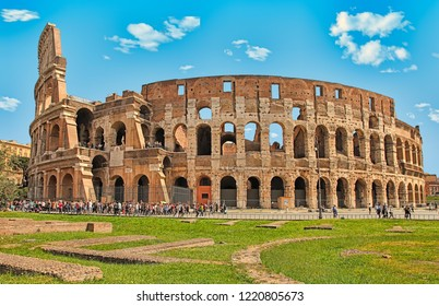 Rome, Italy - April 7, 2016: Tourists visiting the Colosseum on APRIL 7, 2016 in Rome, Italy. The Colosseum is a major tourist attraction in Rome