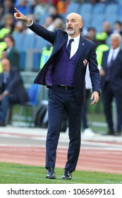 ROME, ITALY - APRIL 7,2018: Stefano Pioli coach of Fiorentina during football match serie A League 2017/2018 between AS Roma vs Fiorentina at the Olimpic Stadium in Rome.
