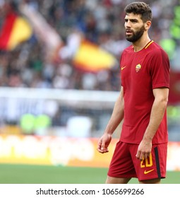 ROME, ITALY - APRIL 7,2018:Federico Fazio during football match serie A League 2017/2018 between AS Roma vs Fiorentina at the Olimpic Stadium in Rome.