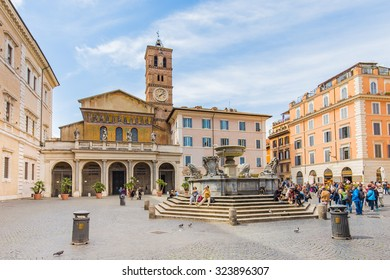Rome, Italy - April 8, 2015: The Basilica of Our Lady in Trastevere Basilica di Santa Maria in Trastevere , a titular minor basilica and one of the oldest Churches of Rome, Italy