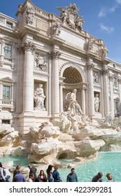 ROME, ITALY - APRIL 8, 2016: Fontana di Trevi in Rome, Italy