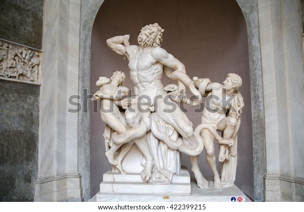 ROME, ITALY - APRIL 8, 2016:  Laocoon and His Sons displayed in the Museo Pio Clementino of the Vatican Museums in Rome, Italy.