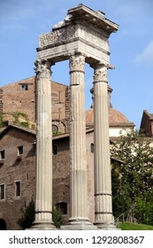 Rome - Italy / April 9, 2016: The temple of Apollo Sosiano or Apollo in Circus in the circus Flaminio area, near the theater of Marcello. The three columns are from the Augustan period.