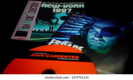 Rome, Italy - August 02, 2019: Cover of three soundtracks of John Carpenter's movie. American director of cult movies like Halloween, the fog, the thing, 1997