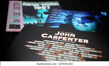 Rome, Italy - August 02, 2019: Cover of three soundtracks of John Carpenter's movie. American director known for his horror films featuring synthesizer music