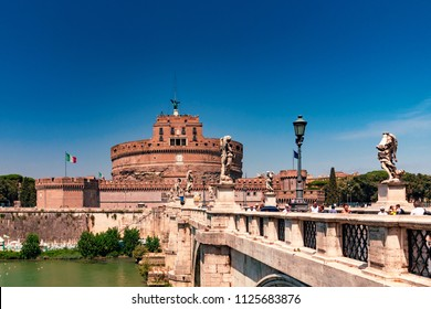 ROME, Italy - August 09, 2017: Castel Sant Angelo or Mausoleum of Hadrian in Rome Italy