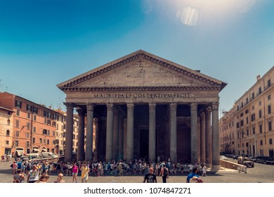 ROME, Italy - August 10, 2017: Pantheon with lot of tourists, ancient architecture, wide shot