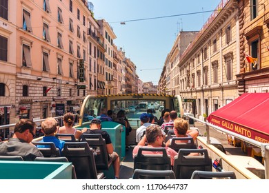 ROME, Italy - August 10, 2017: Tourists riding in bus, enjoy by tour in Rome
