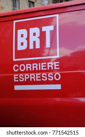 Rome, Italy - August 11, 2017: Bartolini courier logo. BRT is a courier, specialized in delivery of various types of shipments and in providing logistical support services for the handling of goods