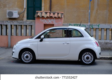 Rome, Italy - August 11, 2017: Fiat 500 car. Side view. Fiat Automobiles SpA is the largest automobile manufacturer in Italy, subsidiary of FCA Italy SpA, which is part of Fiat Chrysler Automobiles